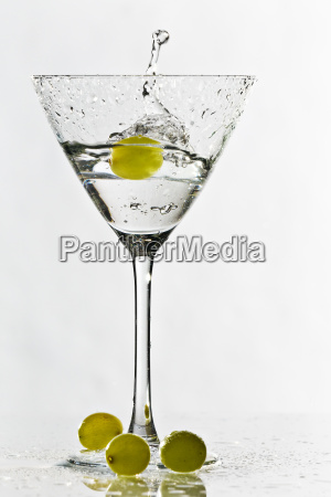 cocktail glass with grapes