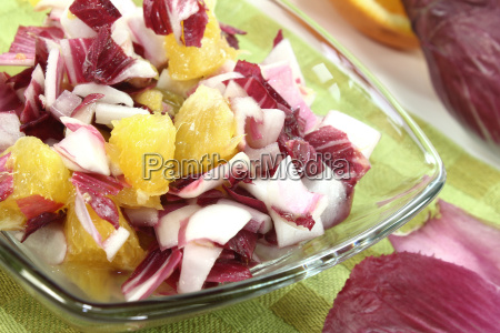 chicory salad with pieces of orange
