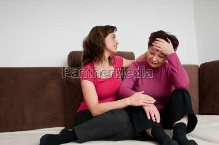 big problems daughter comforts senior