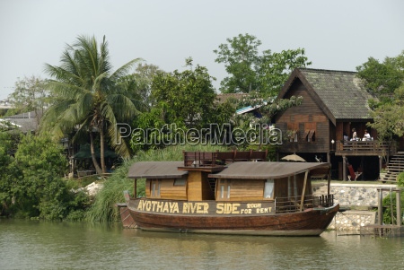 wooden boat at chao praya in