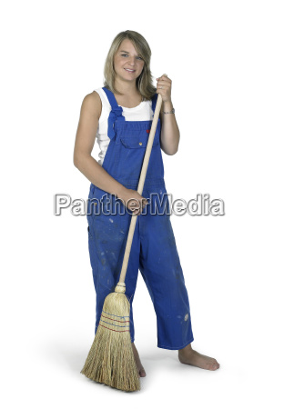 blond girl with besom boilersuit