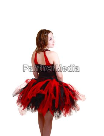 ballerina in red and black dress