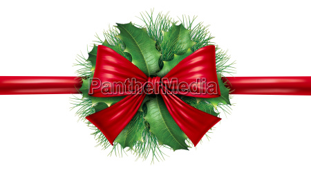 red bow with pine border and