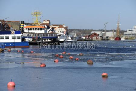 buoys in the ice in flensburg