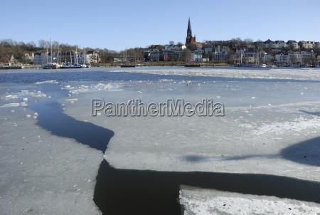 ice in flensburg harbour