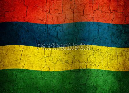 grunge mauritius flag