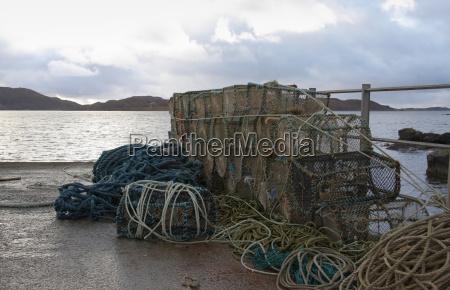 fishing traps in coastal ambiance