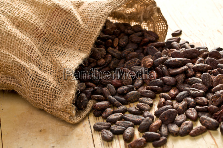 jute bag with cocoa beans