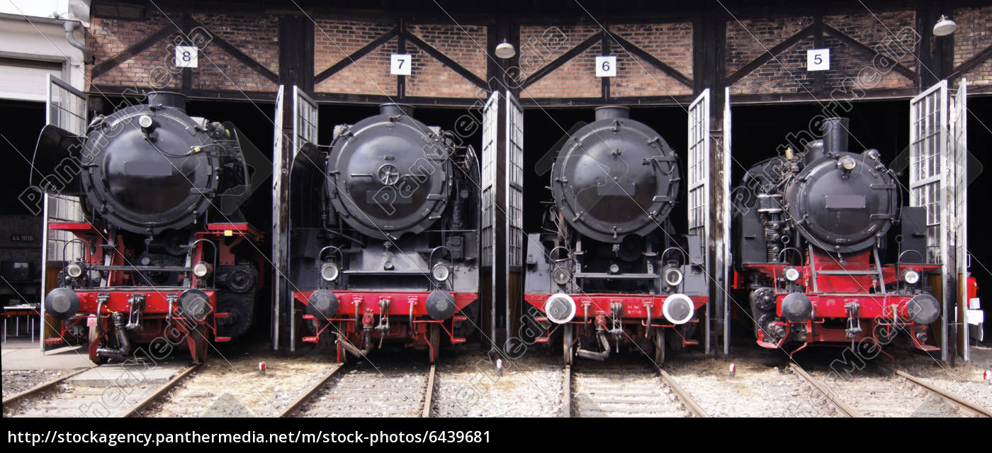 Stock Photo 6439681 - roundhouse with steam locomotives