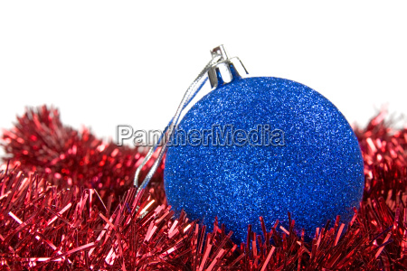 blue bauble on a red garland