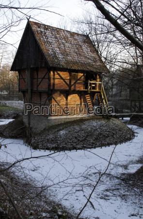 historic granary in the winter