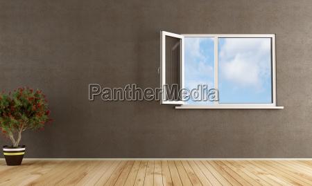 empty room with open window