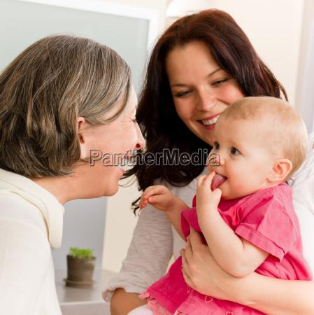 happy family women grandmother mum