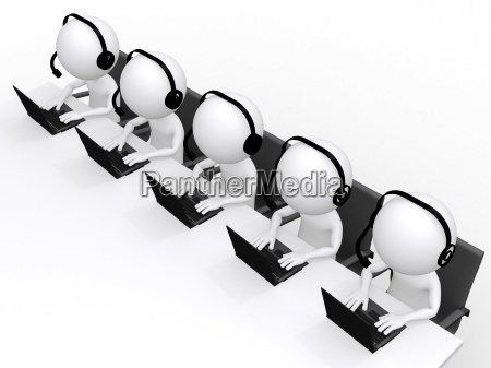 3d man support center isolated on