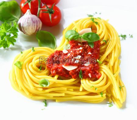 heart shaped pasta and tomato