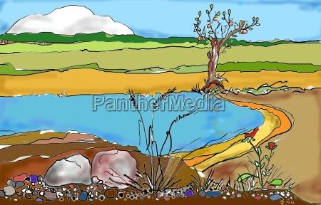 summersummer feelingbathing pondcollagegraphic
