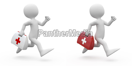 man running with first aid kit