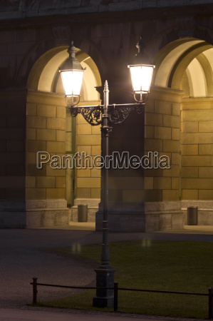 street lamp in front of historic