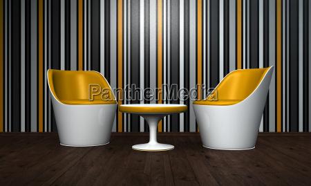 relax room orange white