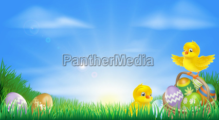 yellow easter chicks and eggs background