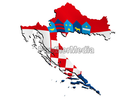 map croatia with flag