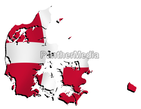 map denmark with flag