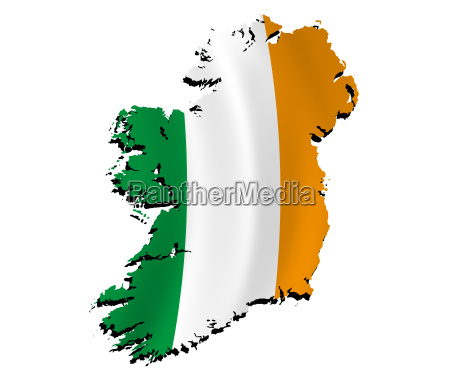 map ireland with flag