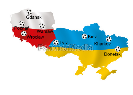maps of poland and ukraine with