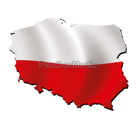 map poland with flag
