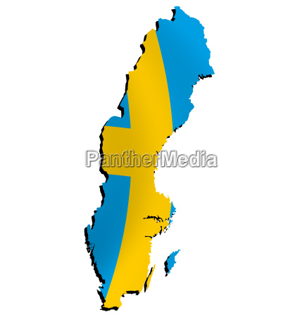 map sweden with flag