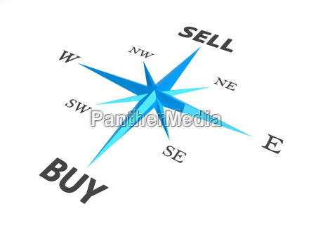 buy vs sell business concept compass