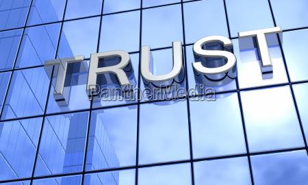 mirror facade blue trust concept