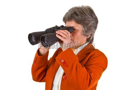 senior with binoculars