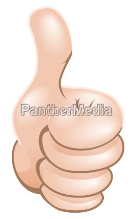 cartoon thumbs up hand illustration