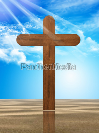 wooden cross in the desert
