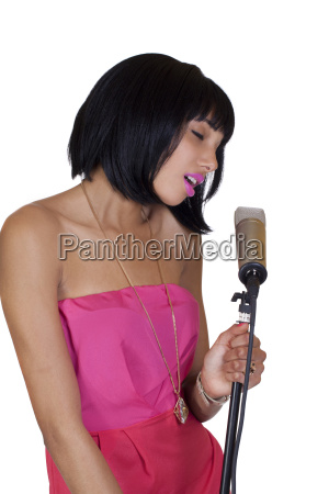 attractive skinny black woman singing condenser