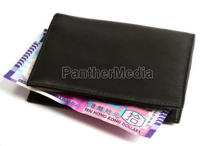 black wallet with ten hk dollars