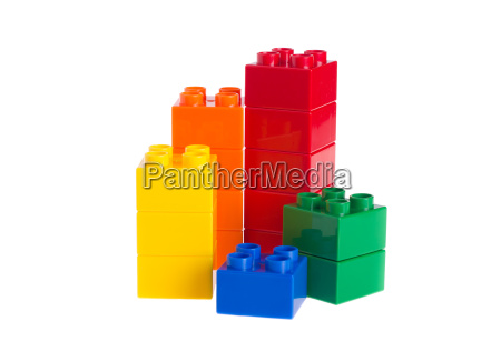 plastic building blocks isolated on white