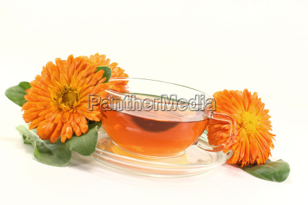 fresh marigold tea with flowers