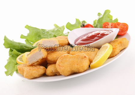 plate of nuggets and ketchup