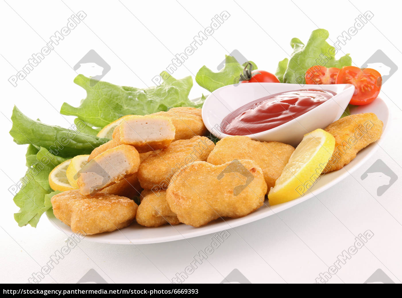 plate, of, nuggets, and, ketchup - 6669393
