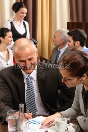 business meeting executive people at restaurant