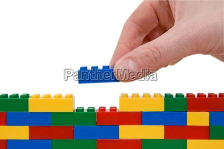 hand building lego