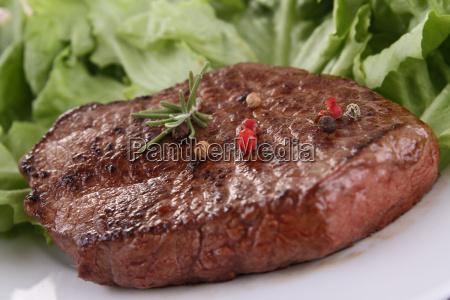beefsteak and salad