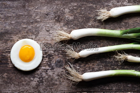 fried egg and spring onions on