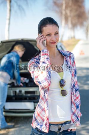 car problem woman call road help