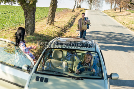 hitch hiking parked car girl friends