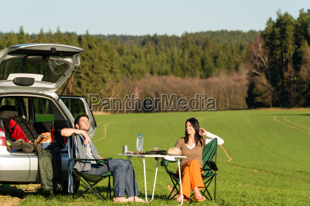 camping car young couple enjoy picnic