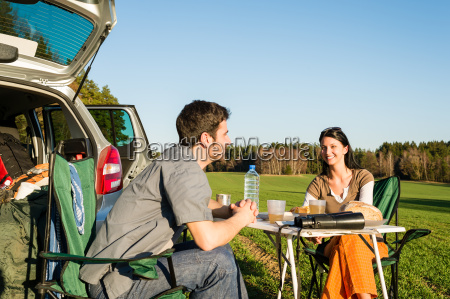 camping car young couple enjoy picnic