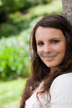 young calm woman looking straight at